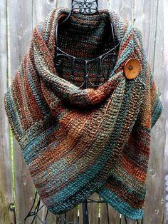 - Hot-sale Women's Casual Multicolor Stripes Round Neck Scarves&Shawls Buttoned Crochet Wrap Patter - Pull Orange, Vintage Ladies, Retro Vintage, Vintage Cotton, Vintage Hats, Casual Tops For Women, Women's Casual, Casual Winter, Winter Style