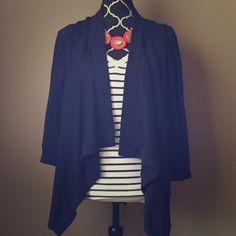 High-Lo Navy Cardi Flyaway This is in perfect pre-loved condition. Style suggestion shown, but listing is for navy cardigan only. Charming Charlie Sweaters Cardigans