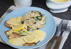 Citromos tilápia spenótos rizzsel és fehérmártással