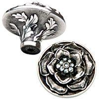 Edgar Berebi Decorative Hardware 1 1/2 inch Floral View Knob Swarovski Crystal in Burnish Silver - ( 7743/16 ) - additional view