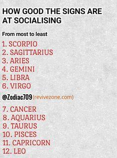 most to least socialising zodiac signs, aries, taurus, gemini, cancer, leo, virgo, libra, scorpio, sagittarius, capricorn, aquarius, pisces