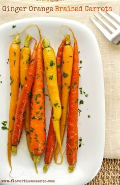 Ginger Orange Braised and Glazed Carrots are rainbow carrots braised ...