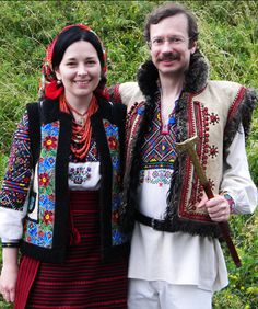 Hutsul couple,beautiful outfits , W Ukraine, from Iryna