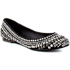 Steve Madden Women's Kuddos - Black Silver ($80) ❤ liked on Polyvore featuring shoes, flats, sapatilhas, sapatos, ballet flats, casual, comfort, rounded toe, women and embellished ballet flats