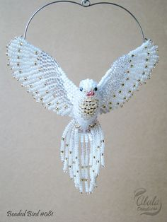 White Dove Suncatcher Beaded Dove Ornament Dove by AlulaCreations