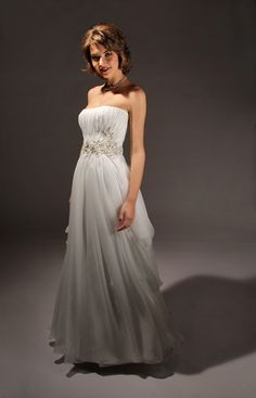 Silk Chiffon Wedding Dresses  Wedding Gowns  Bridal Gowns   style 3737 in silk chiffon and beaded flowers at the natural waist