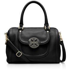 Tory Burch Amanda Middy Satchel ($465) ❤ liked on Polyvore featuring bags, handbags, black, satchel handbags, black satchel purse, leather purse, black satchel and tory burch handbags