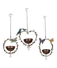Look at this #zulilyfind! Hanging Bird Feeder Set #zulilyfinds