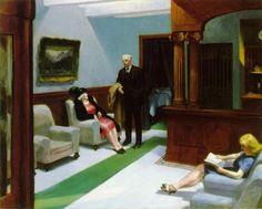 Reproduction de Hopper, Hall d'hotel (Hotel lobby). Tableau peint à la main dans nos ateliers. Peinture à l'huile sur toile.