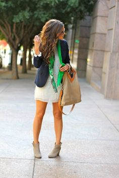 Shop this look on Lookastic:  https://lookastic.com/women/looks/blazer-sheath-dress-ankle-boots-tote-bag-scarf-bracelet/11551  — Green Print Scarf  — Gold Bracelet  — Navy Blazer  — White Chiffon Sheath Dress  — Tan Leather Tote Bag  — Grey Suede Ankle Boots