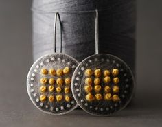 yellow spring flowers  embroidered earrings by sharonfiorini, $75.00