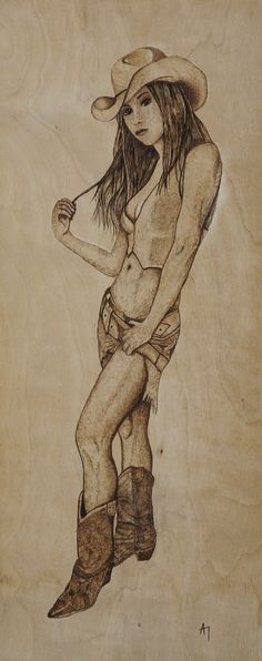 Wood burning pyrography art on wood Cowgirl. by Athanasia Pastrikou