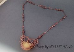 Copper Necklace Copper Wire Wrapped Necklace by MadeByMyLeftHand