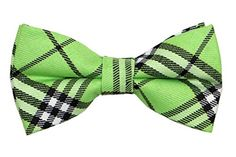 Little Boy's Multi-color Plaids Bow Ties Light Green
