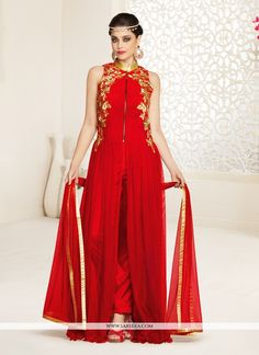 Ravishing attire to enhance your beauty. Add richer looks to your persona in this red net designer salwar suit. This beautiful attire is showing some amazing embroidery done with embroidered, resham a...