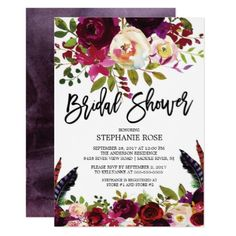 Boho Rose Purple Floral Bridal Shower Invitation - invitations custom unique diy personalize occasions