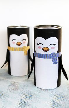 DIY Penguins from Upcycled Pirouline Tins + Free Printable