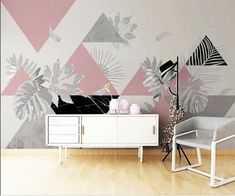 Simple Modern Triangle with Leaves Geometric Wallpaper Wall Mural, Nordic Ins Simple Geometric Wall Mural Wall Decor Home Decor Geometric Wallpaper For Walls, Geometric Wall Paint, Wallpaper Wall, Office Wall Design, Office Walls, Bedroom Wall, Bedroom Decor, Wall Decor, Home Interior