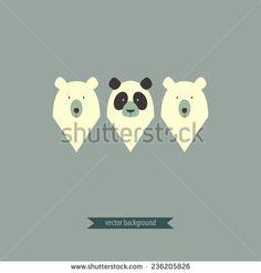 Two bears and panda vector design