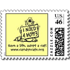 Save a life, adopt a cat! Postage Stamp by
