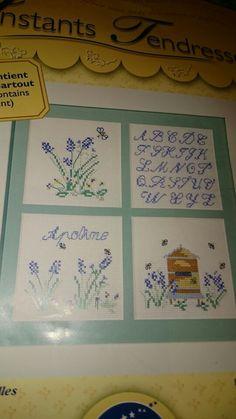 Cross stitch lavender sampler