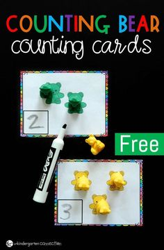 Kids will love working on counting and writing numbers to 12 with this FREE set of Counting Bear Counting Cards! They make such a fun Preschool or Kindergarten math center. #centers #math #mathcenter #numbers #counting #countingbears #freeprintable
