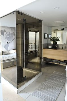 mirrored shower