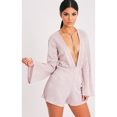 Tamara Pink Lurex Pleated Bell Sleeve Playsuit ($7.31) ❤ liked on Polyvore featuring jumpsuits, rompers, pink, bell sleeve romper, bell sleeve rompers, pink rompers, deep v neck romper and playsuit romper