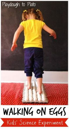 science Why don't eggs break when you walk on them? Seriously exciting science experiment for kids. {Playdough to Plato}Why don't eggs break when you walk on them? Seriously exciting science experiment for kids. {Playdough to Plato} Cool Science Experiments, Science Week, Preschool Science, Elementary Science, Science Classroom, Science Fair, Teaching Science, Science For Kids, Science Activities