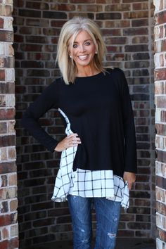 df685f2851479 One Faith Boutique - Only The Best Plaid Accented Tunic With Pockets ~  Black ~ Sizes