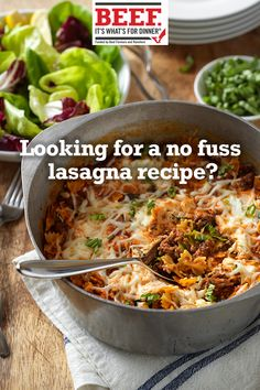 Everything you love about lasagna - Ground Beef, zucchini, pasta, sauce and cheese - blended in a single pot and finished in the oven. Make this easy lasagna. Pasta Recipes, Beef Recipes, Healthy Recipes, Recipies, Pasta Dishes, Food Dishes, Main Dishes, One Pot Meals, Easy Meals