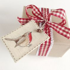 Robin Gift Tag 6  Cross Stitch by MadeByRachel on Etsy
