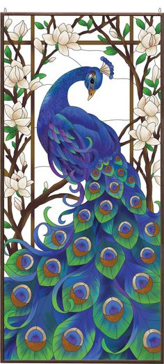 "Regal Peacock Stained Glass Art Panel 37.5"" x 17.5"" Bird Estate Birds Blue                                                                                                                                                                                 More"