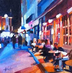 """""""Outside Oscar's"""" by Liza Hirst  I loooove this painting. The warm and cool colors, the foreground and background distance...so enjoyable to look at!"""