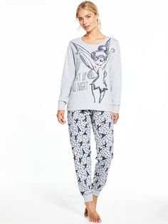V by Very Tinkerbell Up All Night Loungewear Set - Grey, http://www.littlewoods.com/v-by-very-tinkerbell-up-all-night-loungewear-set-grey/1600178924.prd