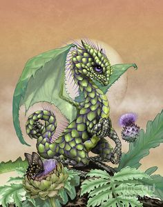 Artichoke Dragon Print by Stanley Morrison. All prints are professionally printed, packaged, and shipped within 3 - 4 business days. Choose from multiple sizes and hundreds of frame and mat options. Little Dragon, Baby Dragon, Magical Creatures, Fantasy Creatures, Fantasy Dragon, Fantasy Art, Dragon Series, Dragon Artwork, Dragon Drawings