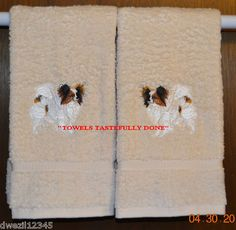 PAPILLON BUTTERFLY DOG - 2 EMBROIDERED HAND TOWELS by Susan