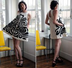 The mini dress is handcrafted out of recycled materials: the white fabric had a former life as a 100% cotton bedsheet. The design was inspired by traditional Maori facial tattoos, sacred designs that are unique to each person. Every new Maori-inspired design thatRachel creates is altered so no two are identical.