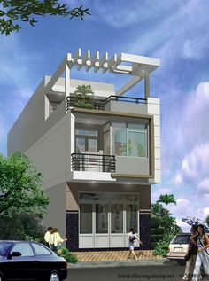 Townhouse Designs, Bungalow House Design, House Front Design, Small House Design, Modern House Design, New Home Designs, Home Design Plans, Narrow House Designs, Village House Design