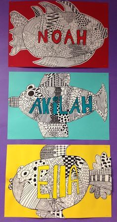 Name design fish with lines, shapes and patterns