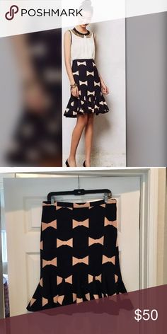 Eva Franco Bow tie skirt Like new condition. Black skirt with light pink bows printed on it Anthropologie Skirts Pencil