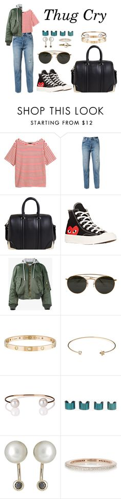 """""""Thug Cry"""" by anaelle2 ❤ liked on Polyvore featuring H&M, Levi's, Givenchy, Comme des Garçons, Vetements, Ray-Ban, Cartier, Jeweliq, Letters By Zoe and Maison Margiela"""