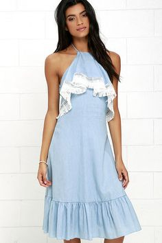 Daydream Come True Light Blue Chambray Midi Dress at Lulus.com!