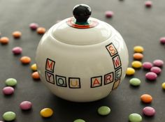 """Sugar Bowl from the Scrabble collection: """"You are my sweet tooth"""" Hand Painted Ceramics by artist Caro Spinette. Photo by Kate Sims"""