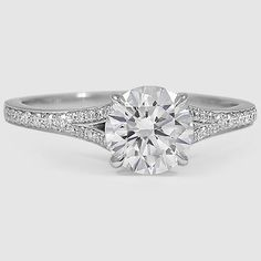 18K White Gold Duet Diamond Ring // Set with a 1.39 Carat, Round, Very Good Cut, H Color, VS1 Clarity Lab Diamond #BrilliantEarth