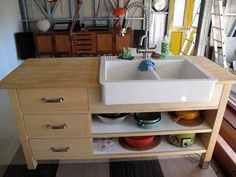IKEA Hackers: Domestic Bliss Thanks to Varde/Domsjo Sink Hack - same as our island and could use for sink cabinet Ikea Kitchen Sink, Best Kitchen Sinks, New Kitchen, Kitchen Decor, Unfitted Kitchen, Kitchen Island, Kitchen Cabinets, Layout Design, Kitchen