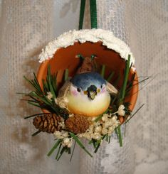 """Birds in Pots"" Homemade Christmas Ornaments at BetterBudgeting.com"
