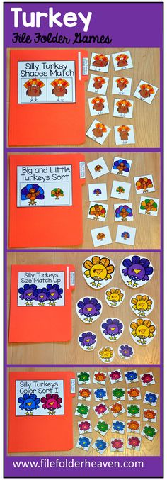 This Turkey File Folder Games Mini-Bundle focuses on basic matching and sorting skills.    This set includes nine unique file folder games with three bonus games for differentiation (for a total of 12 games!) These activities  focus on basic skills, such as matching picture to picture, matching shapes, matching numbers, matching letters, matching by size, sorting by size, sorting by color, and sorting by likeness and differences.