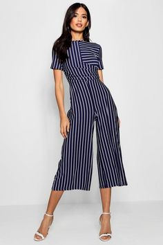 Buy Boohoo Striped Wrap Culotte Jumpsuit from the Next UK online shop Night Outfits, Classy Outfits, Trendy Outfits, Party Outfits, Sexy Outfits, Girl Outfits, Birthday Outfit For Women, Going Out Outfits, Striped Jumpsuit