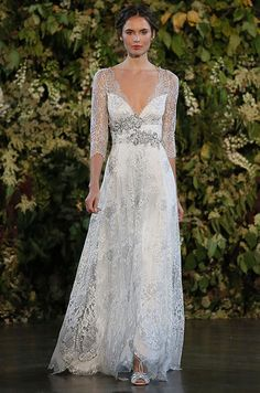 A beautiful lace sleeves wedding dress from Claire Pettibone Fall 2015 bridal collection.